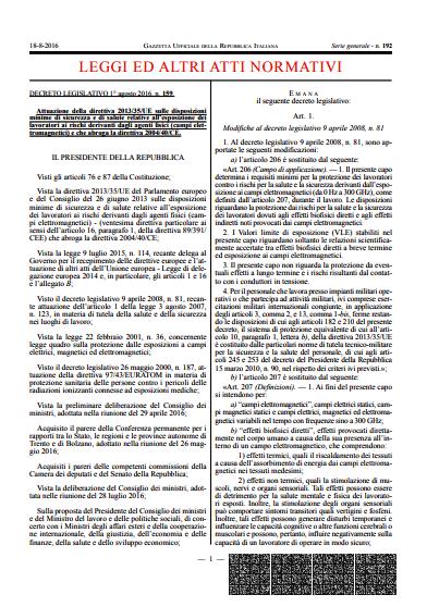 DECRETO LEGISLATIVO 1° agosto 2016 , n. 159 - GU n. 192 18-8-2016